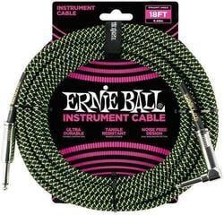 Ernie Ball 18' Braided Straight Angle Black/Green