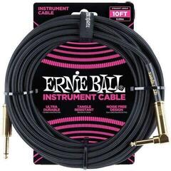 Ernie Ball Braided Instrument Cable Black/Braided-Straight - Angled