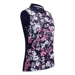Callaway Floral Camo Printed Sleeveless Womens Polo Shirt Peacoat