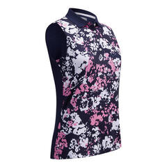 Callaway Floral Camo Printed Sleeveless Womens Polo Shirt Peacoat