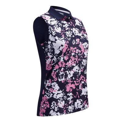 Callaway Floral Camo Printed Sleeveless Womens Polo Shirt Peacoat XS
