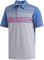 Adidas Ultimate365 3-Stripes Heathered Mens Polo Shirt Grey Three Heather/Dark Marine/Shock Red
