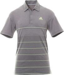 Adidas Ultimate365 Heathered Stripe Mens Polo Shirt Grey Five Heather/Hi-Res Yellow