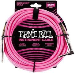 Ernie Ball Braided Instrument Cable Pink/Braided-Straight - Angled