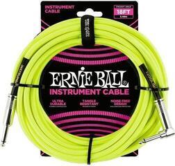 Ernie Ball Braided Instrument Cable Жълт/Плетен-Директен - Ъглов