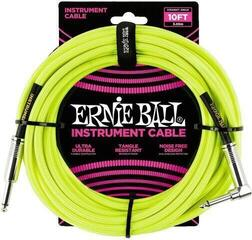 Ernie Ball Braided Instrument Cable Yellow/Braided-Straight - Angled