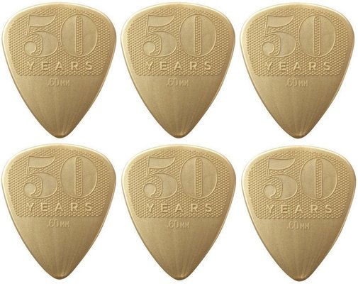 Dunlop 442R60 50th Anniversary Gold Nylon Pick, 0.60 6 Pack