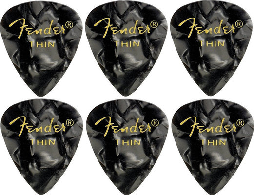 Fender 351 Shape Premium Pick Thin Black Moto 6 Pack