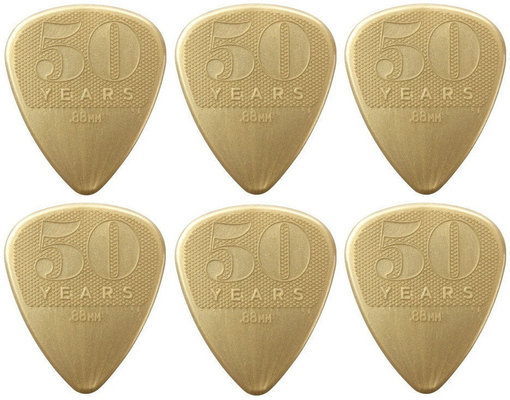 Dunlop 442R88 50th Anniversary Gold Nylon Pick, 0.88 6 Pack
