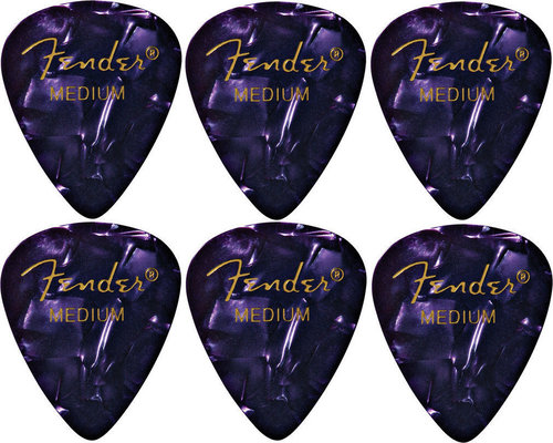 Fender 351 Shape Premium Pick Purple Moto Medium 6 Pack