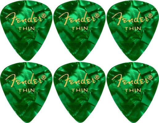 Fender 351 Shape Premium Pick Thin Green Moto 6 Pack