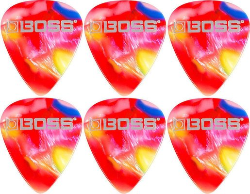 Boss BPK-72-MM Celluloid Pick Medium Mosaic 6 Pack