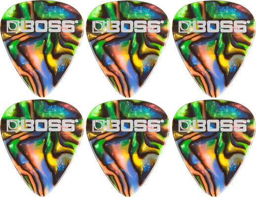 Boss BPK-72-AM Celluloid Pick Medium Abalone 6 Pack