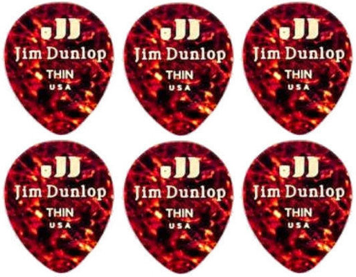 Dunlop 485R-05TH Celluloid Teardrop Shell Thin 6 Pack