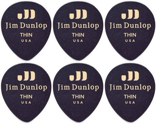 Dunlop 485R-03TH Celluloid Teardrop Black Thin 6 Pack