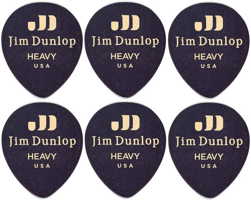 Dunlop 485R-03HV Celluloid Teardrop Black Heavy 6 Pack