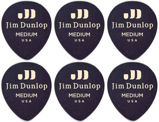 Dunlop 485R-03MD Celluloid Teardrop Black Medium 6 Pack