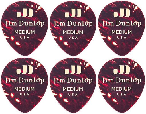 Dunlop 485R-05MD Celluloid Teardrop Shell Medium 6 Pack