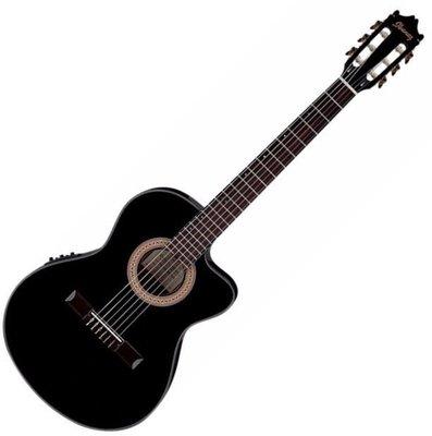 Ibanez GA35TCE Thinline Cutaway Classic Guitar Black Night High Gloss