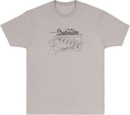 Fender Strat Blue Print T-Shirt Silver L