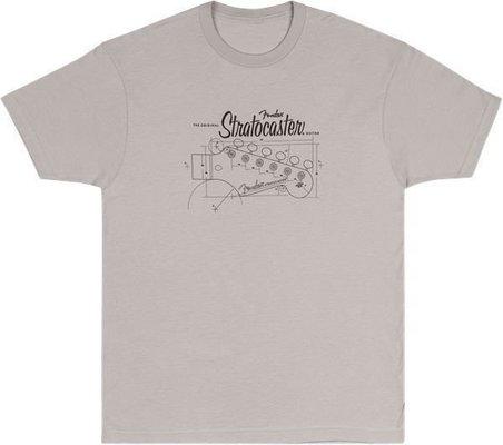 Fender Strat Blue Print T-Shirt Silver M