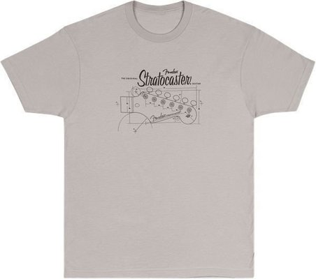 Fender Strat Blue Print T-Shirt Silver S