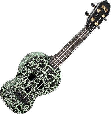 Mahalo Electric-Acoustic Soprano Ukulele Skull Glow Green