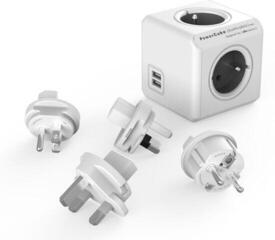 PowerCube ReWirable USB + Travel Plugs Grey