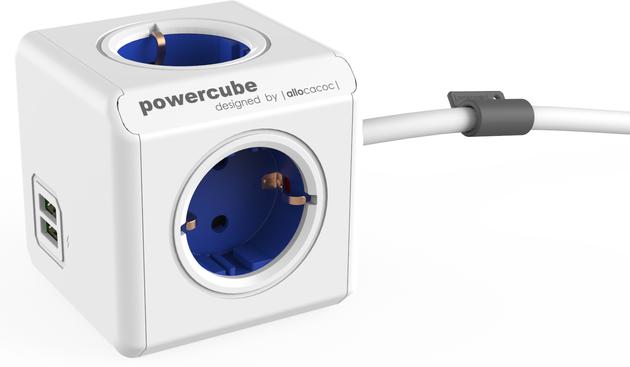 PowerCube Extended USB Blue Schuko