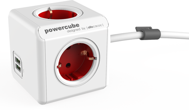 PowerCube Extended USB Red Schuko