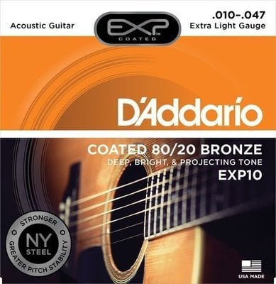 D'Addario EXP10 Coated 80/20 Bronze Extra Light 10-47