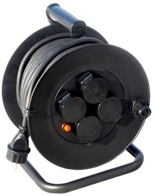 LEWITZ PB33 Extension Cord on Reel 25 m 4x Socket
