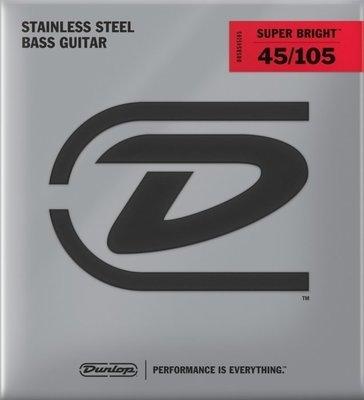 Dunlop DBSBS45105 Stainless Steel Bass Guitar Strings, Medium