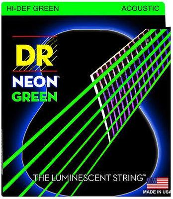 DR Strings HiDef Green Neon Medium-Lite Acoustic