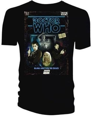 Doctor Who Unisex Tee Retro VHS Cover 10th Doctor Colour Graded S