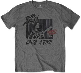 Bob Marley Unisex Tee Catch A Fire World Tour Grey