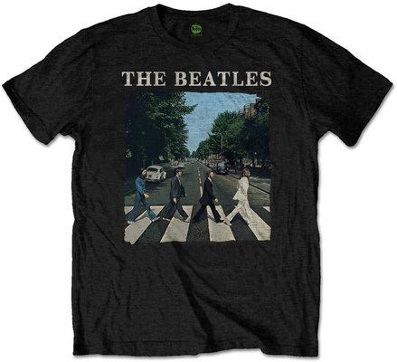 The Beatles Unisex Tee Abbey Road & Logo Black (Retail Pack) S