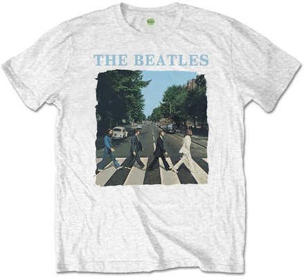 The Beatles Unisex Tee Abbey Road & Logo White (Retail Pack) L