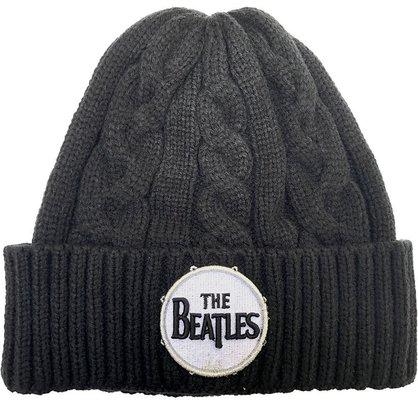 The Beatles Unisex Beanie Hat Drum Logo (Cable Knit)