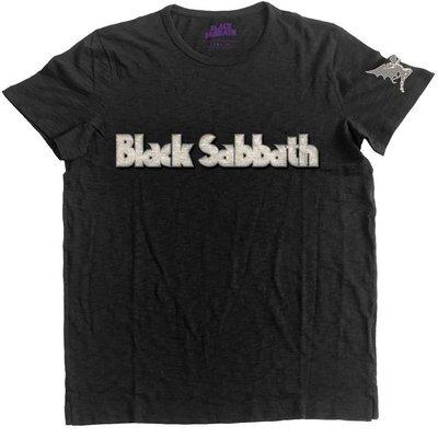 Black Sabbath Unisex Fashion Tee Logo & Daemon (Applique Motifs) L