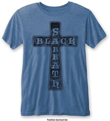 Black Sabbath Unisex Fashion Tee Vintage Cross (Burn Out) M