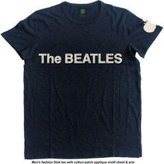 The Beatles Unisex Fashion Tee Logo & Apple (Applique Motifs) Navy