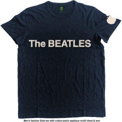 The Beatles Unisex Fashion Tee Logo & Apple (Applique Motifs) M