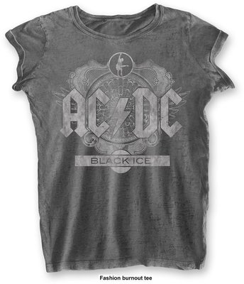 AC/DC Fashion Tee: Black Ice Charcoal (Burn Out) XL