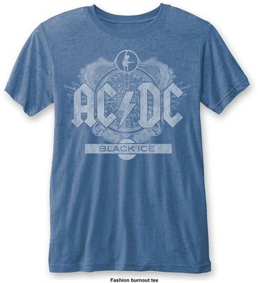 AC/DC Unisex Fashion Tee: Black Ice (Burn Out) Blue L