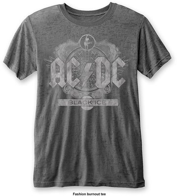 AC/DC Unisex Fashion Tee: Black Ice (Burn Out) Charcoal XL