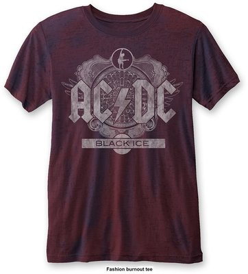 AC/DC Unisex Fashion Tee: Black Ice (Burn Out) Navy/Red L