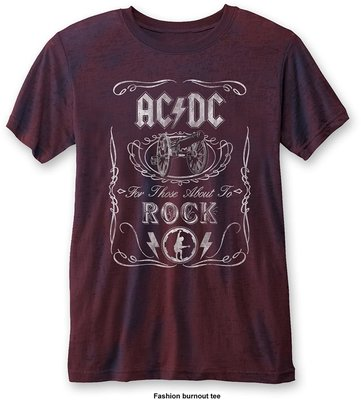 AC/DC Unisex Fashion Tee Cannon Swig (Burn Out) Navy/Red L