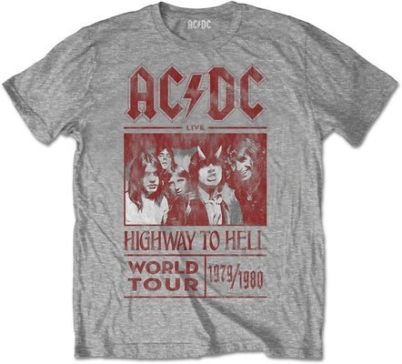 AC/DC Unisex Tee Highway to Hell World Tour 1979/1980 (Back Print) Grey XL