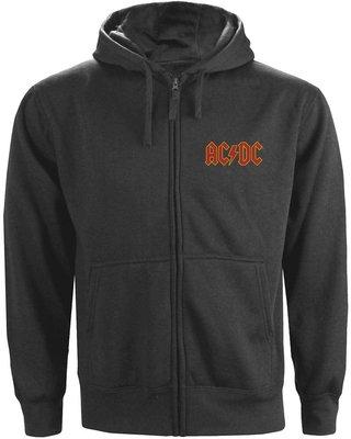 AC/DC Unisex Zipped Hoodie Logo Charcoal (Back Print) M